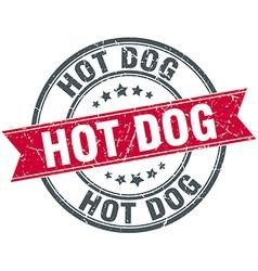 Hot dog red round grunge vintage ribbon stamp vector