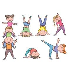 Kids aerobics vector image