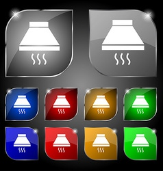 Kitchen hood icon sign Set of ten colorful buttons vector image