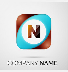 letter n logo symbol in the colorful square on vector image vector image