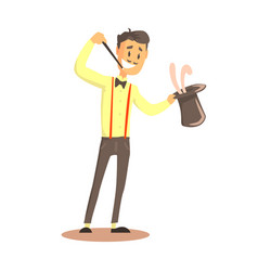 magician holding top hat with rabbit circus or vector image vector image