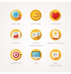 Marketing agency icons set Modern flat colored vector image vector image