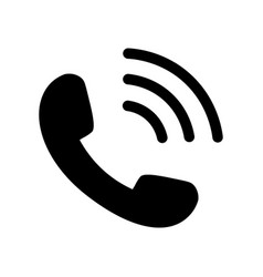 phone icon in black with waves vector image