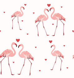 Pink flamingos red hearts seamless pattern texture vector