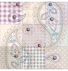 Pink patchwork with paisley vector
