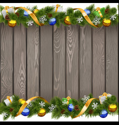 Seamless Christmas Old Board with Golden Ribbon vector image