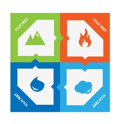 Set of 4 elements fire water air ground vector
