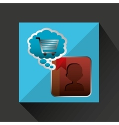 Shiny shopping cart contacts online commerce vector