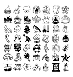sketch hand drawing winter icons set vector image
