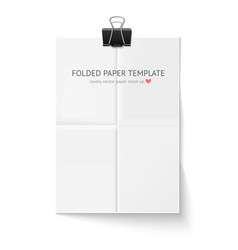 White sheet of paper folded in four hangs with vector