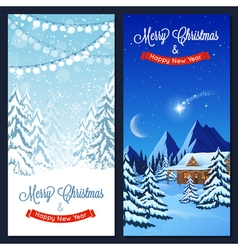 Winter landscape vertical banners vector