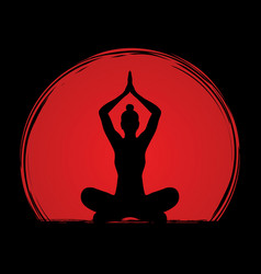 yoga sitting pose graphic vector image