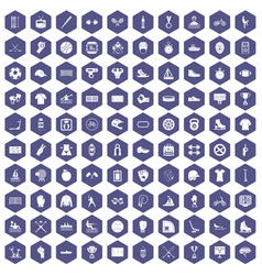 100 sport team icons hexagon purple vector