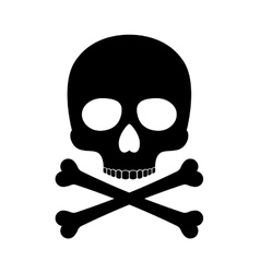 Crossbones skull death silhouette icon vector