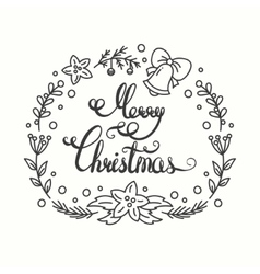 Merry christmas card winter holiday typography vector