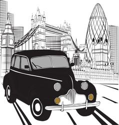 Sketch london taxi vector