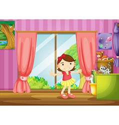 A girl and a cat inside the house vector image