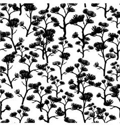 Black and white asian trees kimono seamless vector
