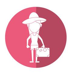traveler woman hat suitcase shadow vector image