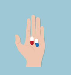 Capsule pill in human hand vector