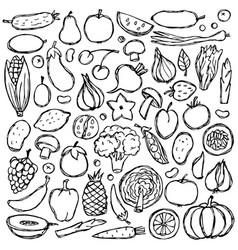 Doodle vegetarian food set vector