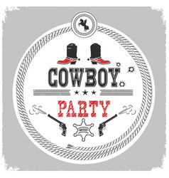 Cowboy party western label isolated on white vector