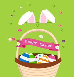Happy easter card of bunny and holiday eggs vector