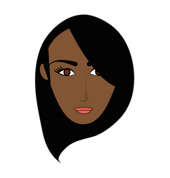 Color image cartoon front face brunette woman with vector