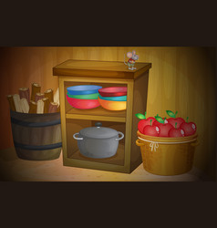 kitchen with apples and shelves vector image