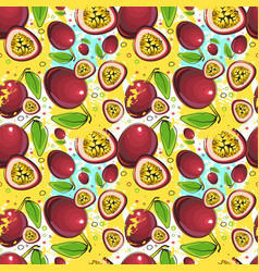 Seamless pattern passion fruits exotic ornament vector