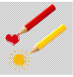 Two pencils with heart and sun vector