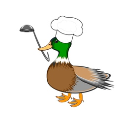 A funny duck with a chef hat and a soup ladle vector