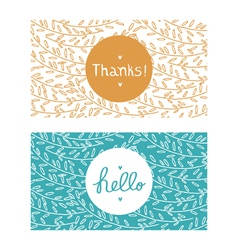 Hello and thanks cards vector image