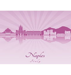 Naples skyline in purple radiant orchid vector image