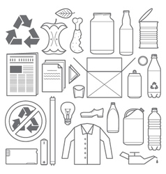 Recycling and various waste icons vector