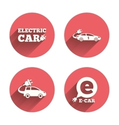 Electric car sign sedan and hatchback transport vector