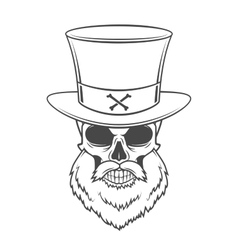 Steampunk head hunter skull with beard and high vector