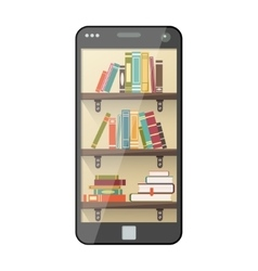 Digital online library on smartphone vector