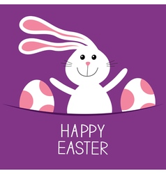 Happy easter bunny rabbit hareand pained egg in vector