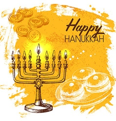 Hand drawn sketch hanukkah background israel vector