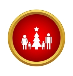 Family new year icon simple style vector