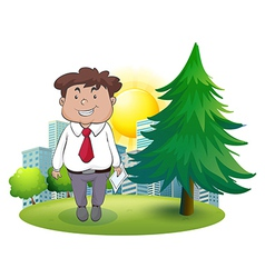 A fat businessman standing beside the pine tree vector image vector image