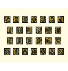 Alphabet of early 16th century vector