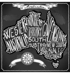 Australia Map on Vintage Handwriting BlackBoard vector image