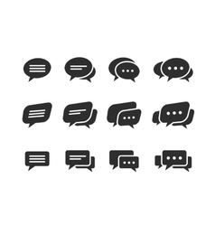 black speech bubble icons vector image vector image