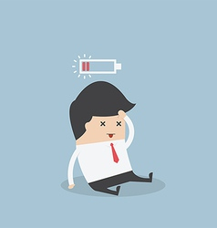 Businessman with low battery vector