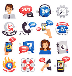 Call center colorful icons collection vector