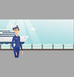 caucasian ship captain in uniform at the port vector image vector image