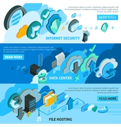 Cloud services banners set vector