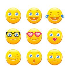 Cute cartoon emoticons emoji icons smiley faces vector